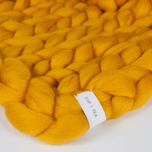 merino chunky knitted blanket yellow mustard