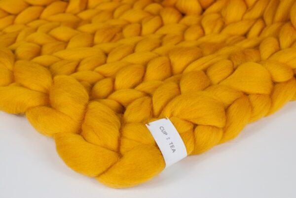merino chunky knitted blanket yellow mustard