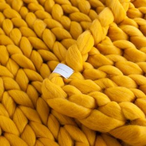 CUP OF TEA MERINO WOOL BLANKET CHUNKY KNIT YELLOW
