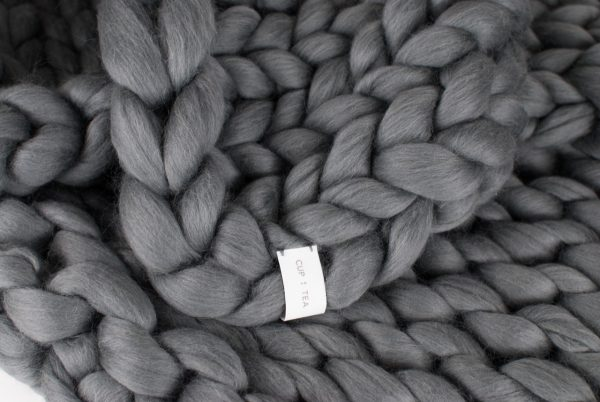 merino chunky knitted blanket grey