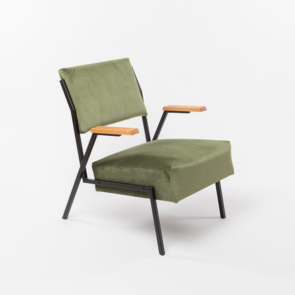 Cup Of Tea Reloved Armchair Vintage Olive Green Velvet