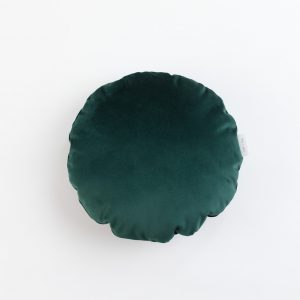 Cup Of Tea Velvet Circle Pillow Dark Green