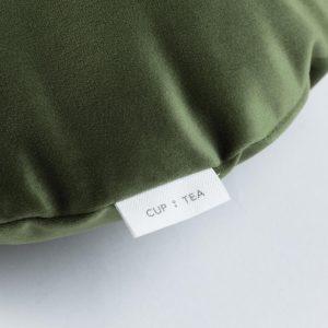 Cup Of Tea Velvet Circle Pillow Green