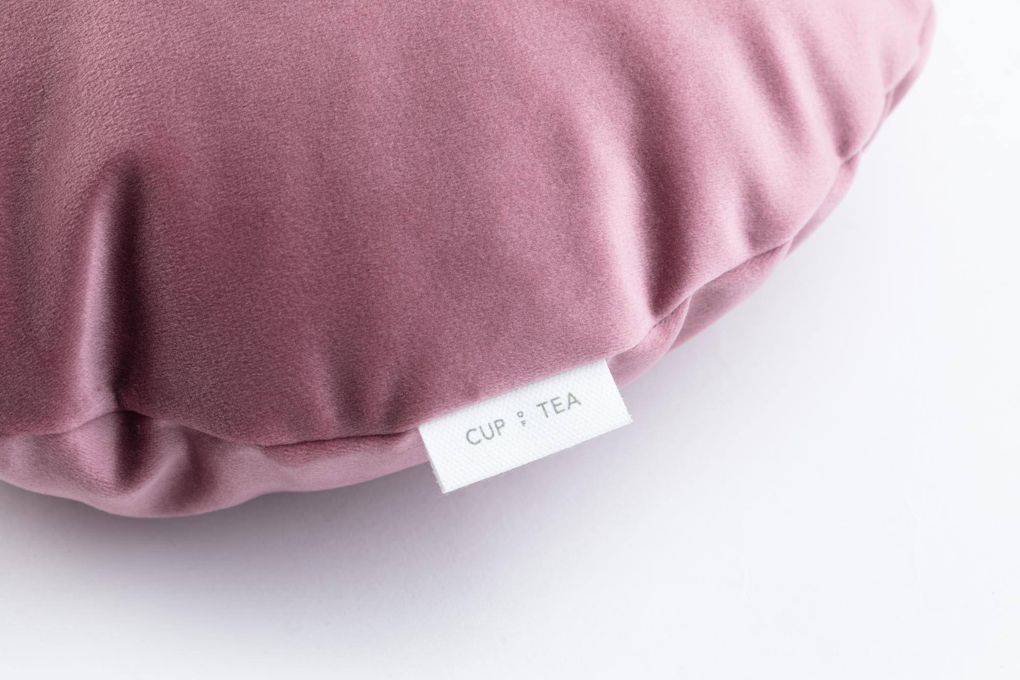 Cup Of Tea Velvet Circle Pillow Rose