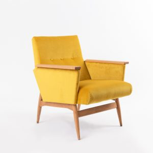 Vintge Armchair Cup Of Tea Royal Yellow