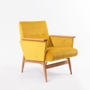 Vintge Armchair Cup Of Tea Royal Yellow