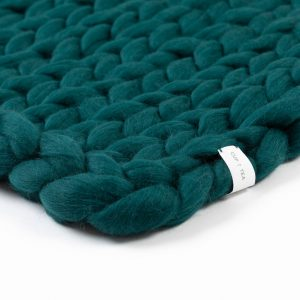 Cup Of Tea Dark Moss Green Chunky Merino Wool Blanket