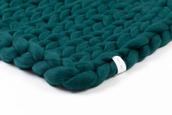 Cup Of Tea Dark Moss Green Chunky Merino Wool Blanket