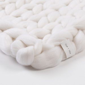 Cup Of Tea Coconut Milk White Merino Chunky Wool Blanket