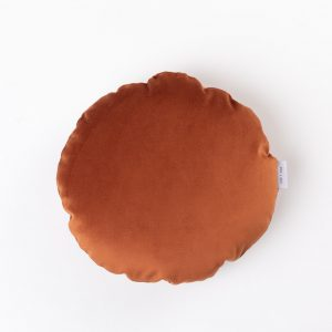 CUP OF TEA CIRCLE CUSHION BURNT ORANGE VELVET ROUND CUSHION