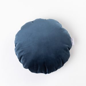 CUP OF TEA CIRCLE CUSHION MIDNIGHT BLUE VELVET