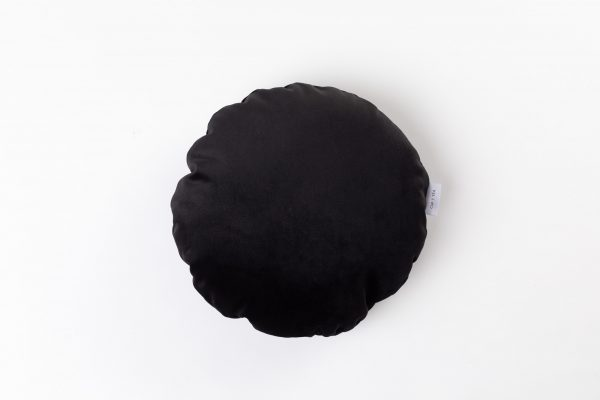 CUP OF TEA CIRCLE CUSHION DRAMATIC BLACK VELVET ROUND CUSHION