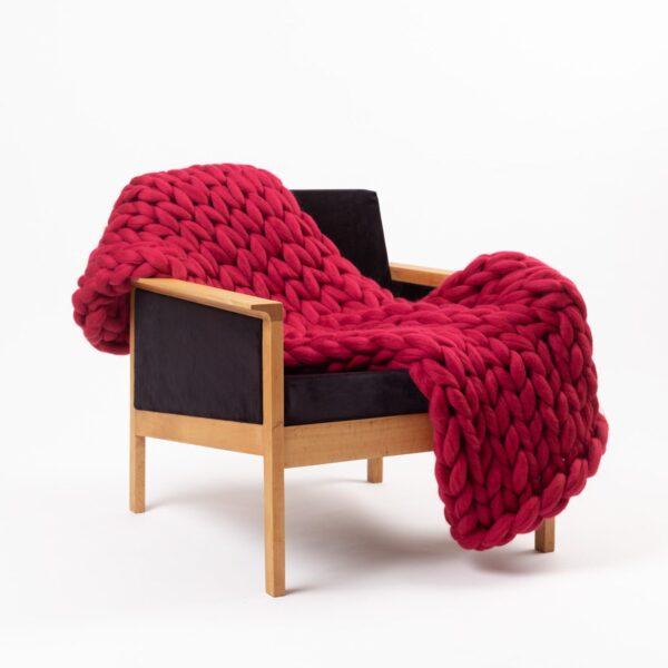 Cup Of Tea Chunky Merino Wool Blanket Raspberry Red
