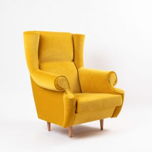 CUP OF TEA RELOVED VINTAGE CHAIR ROYAL YELLOW VELVET