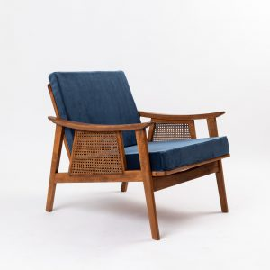 CUP OF TEA VINTAGE RELOVD CHAIR VELVET MIDNIGHT BLUE