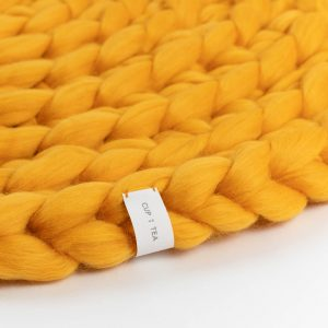 Chunky Merino Wool Rug Mustard Sunny Yellow Knitted Round Cup Of Tea Handmade