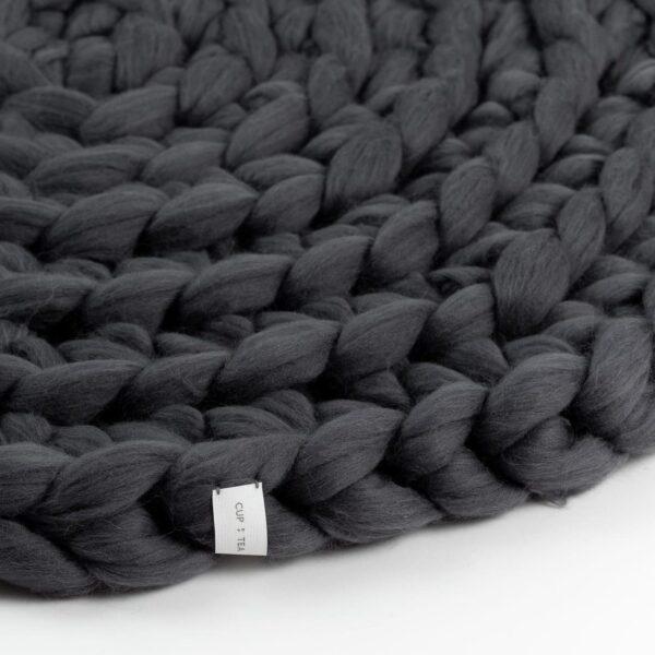 Chunky Merino Wool Rug Dime Grey Gray Knitted Round Cup Of Tea Handmade