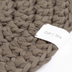 Cup of Tea Circle Rug Olive Green recycled cotton