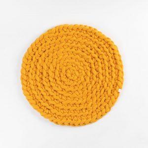 Kraljeva pletena preproga Cup Of Tea sončna rumena 1000 % merino volna volna velikanka
