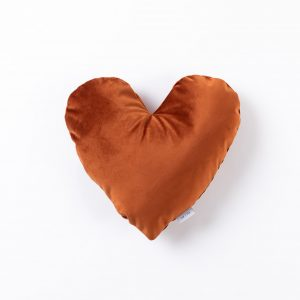 CUP OF TEA Heart Velvet Pillow Rose Orange