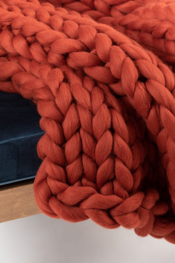 Terra Cotta Burnt Orange Merino Wool Blanket Cup Of Tea