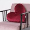 CUP OF TEA Heart Red Velvet Pillow