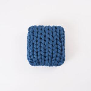 CUP OF TEA MERINO WOOL SQUARE PILLOW MIDNIGHT BLUE