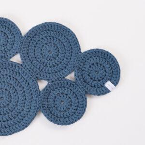 CUP OF TEA CIRCLE RUG CROCHET PETROL BLUE